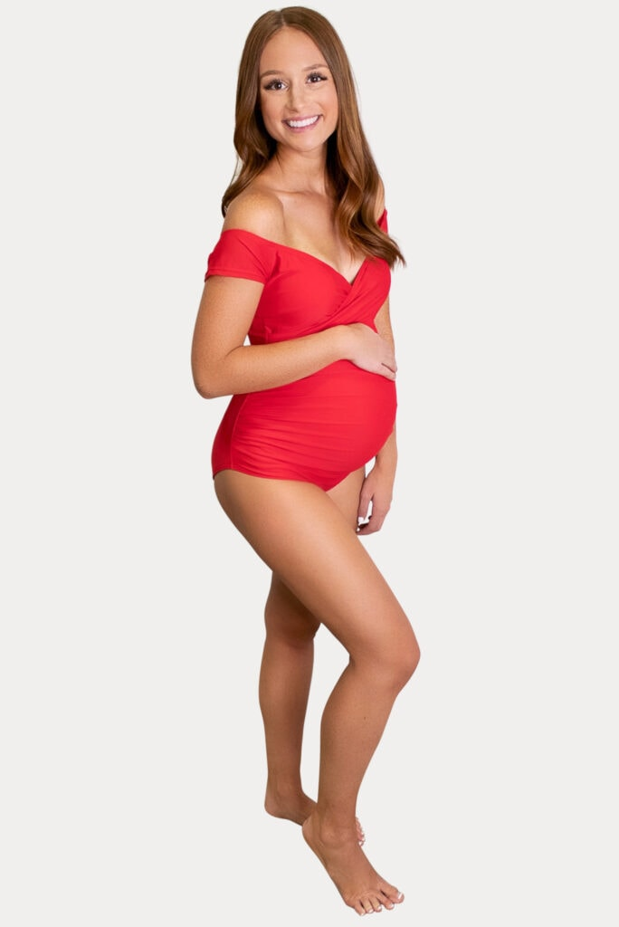 red off the shoulder maternity swimsuit