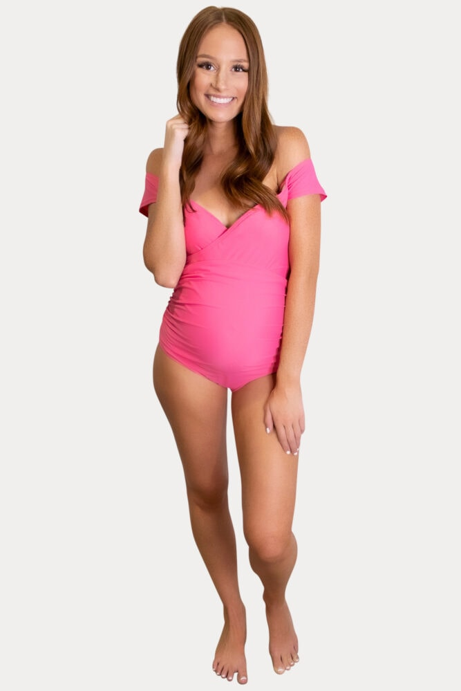 off the shoulder maternity swimsuit