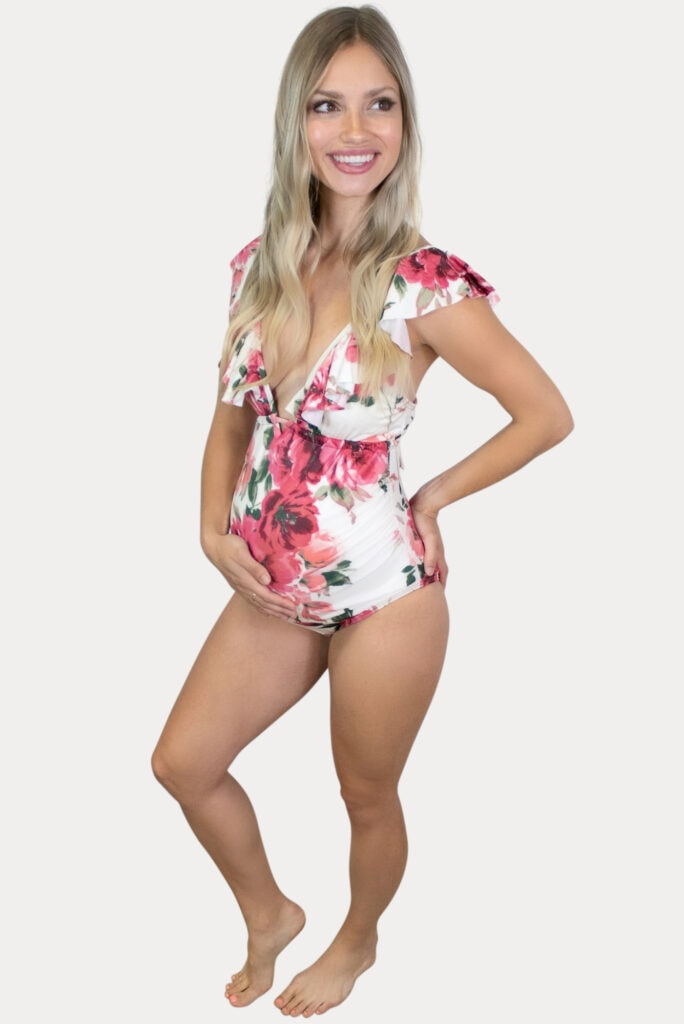 floral maternity swimsuit