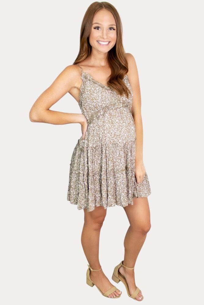 tan tank maternity dress