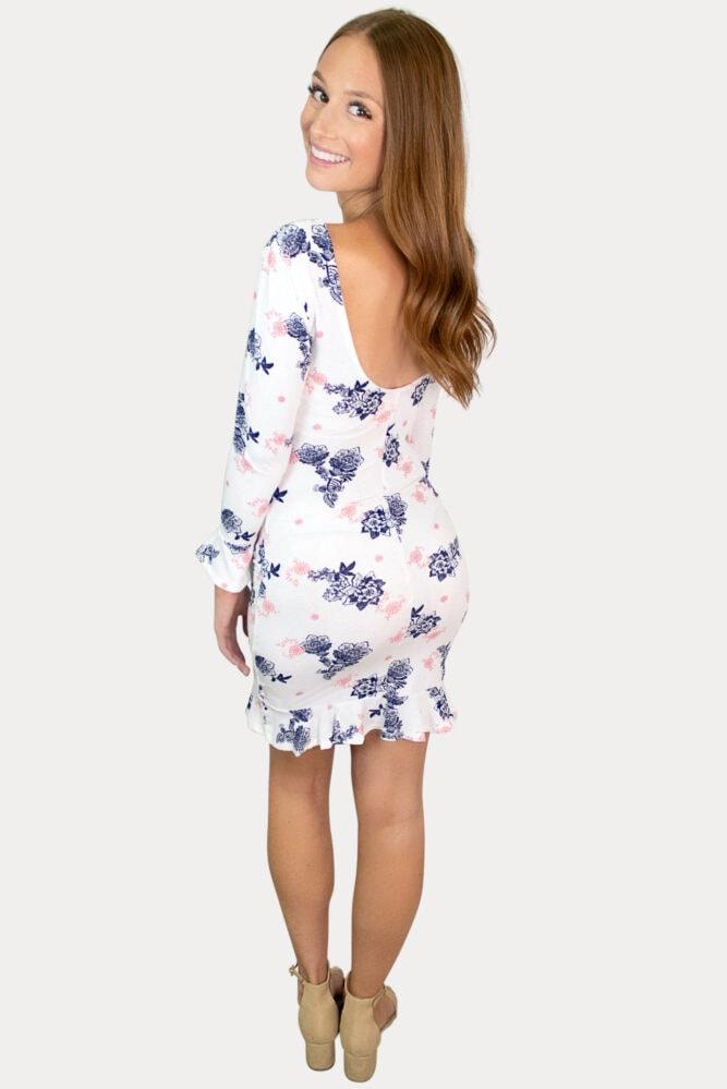 scoop back floral maternity dress