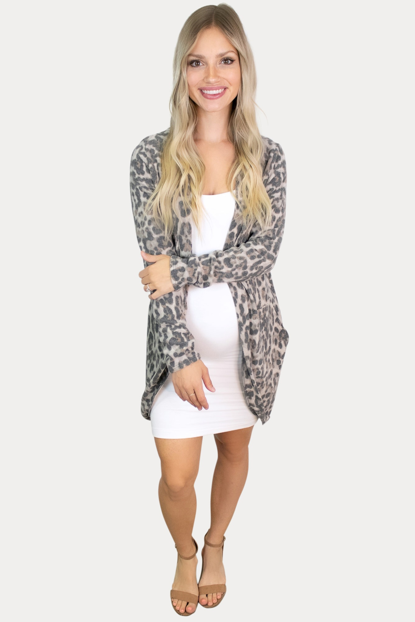 leopard maternity cardigan