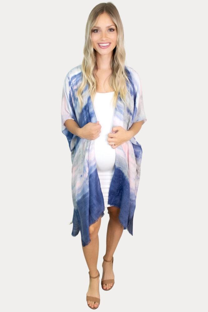 gender reveal maternity kimono