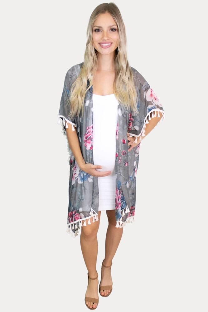 grey floral maternity kimono