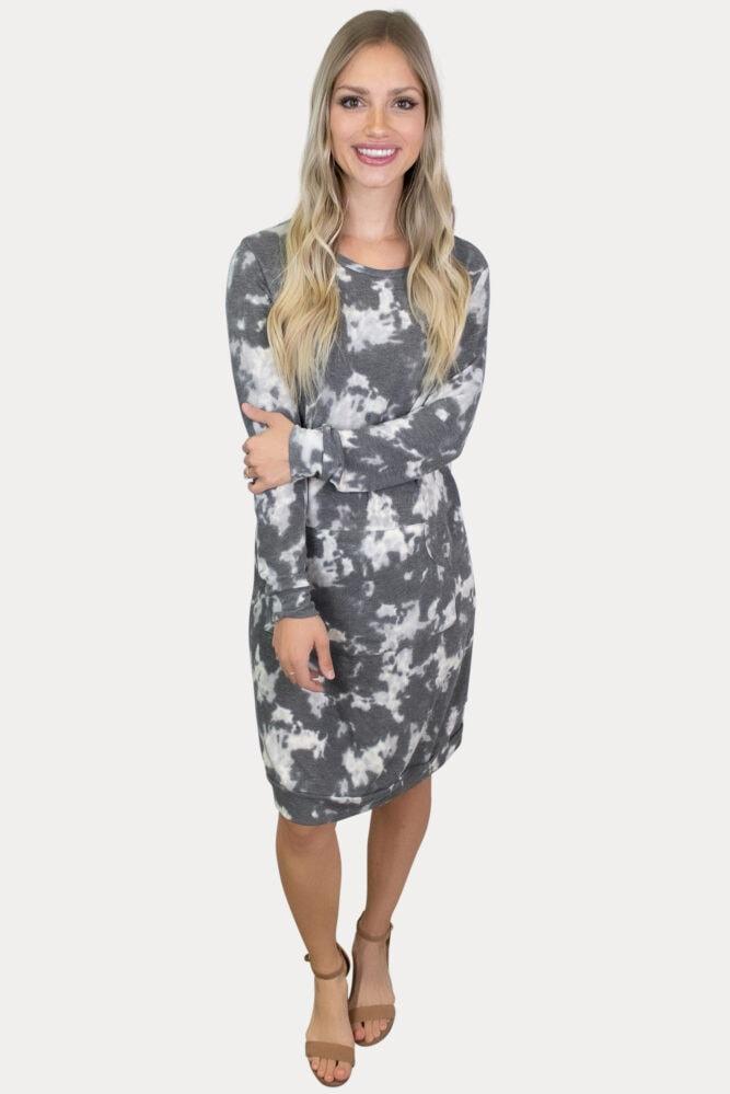 grey tie-dye pregnancy dress