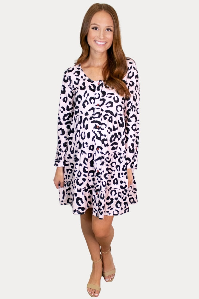 pink leopard pregnancy dress