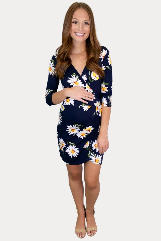 navy sweetheart maternity dress