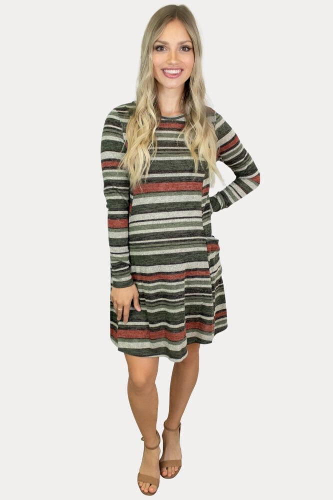 stripe print maternity dress