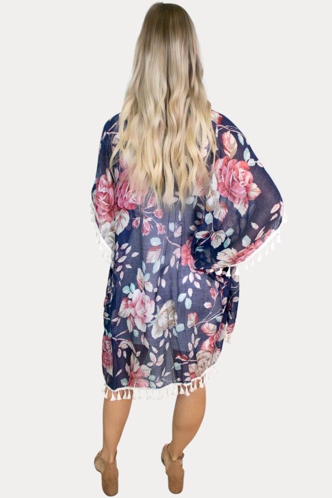 navy floral maternity kimono