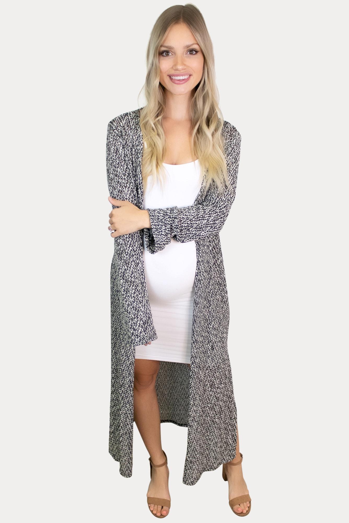 grey long sleeve maternity duster