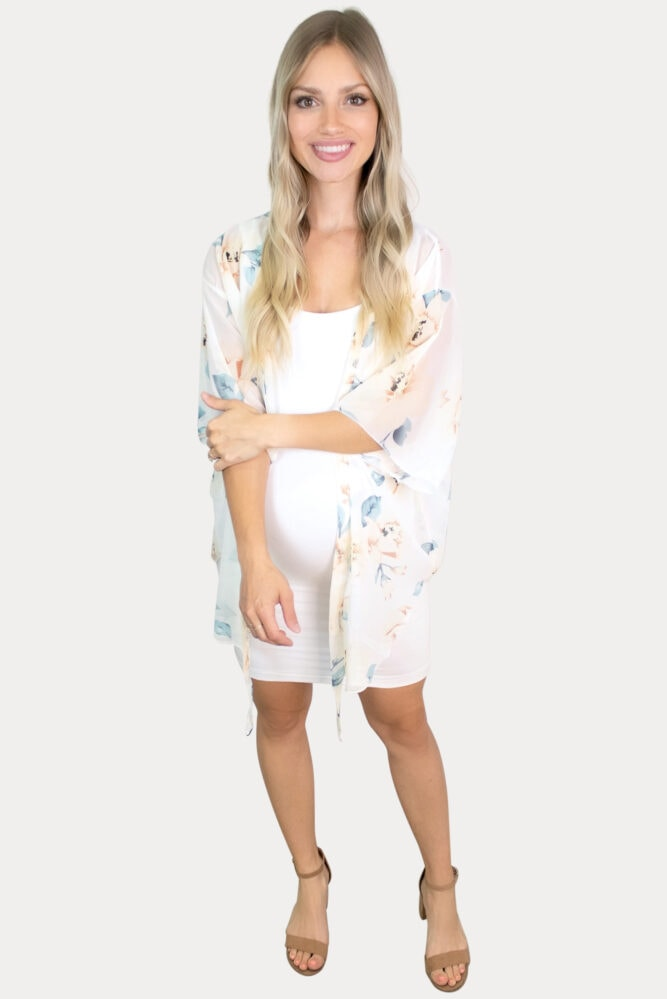 sheer cream floral maternity kimono