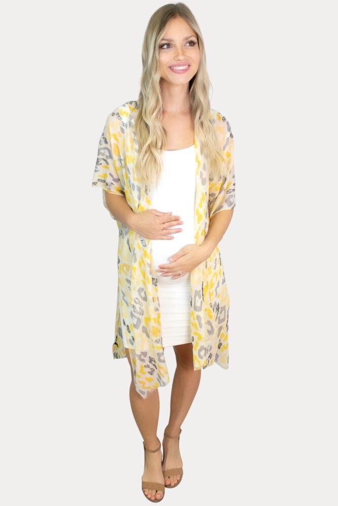 sheer leopard maternity kimono