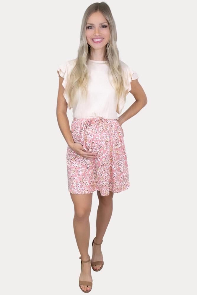 pink two tone maternity dress
