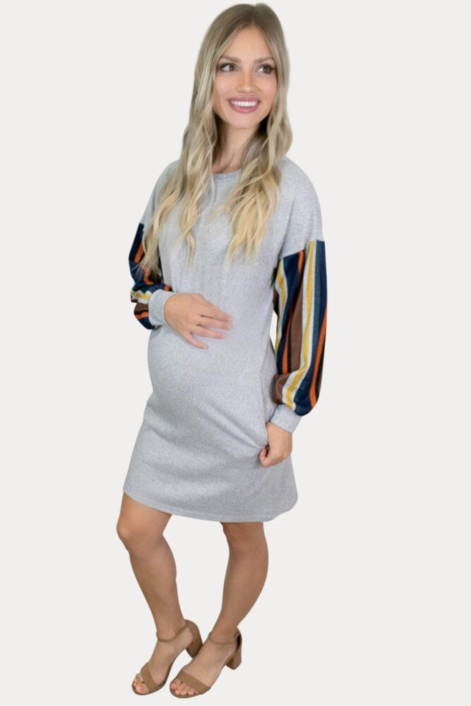 striped knit maternity dress