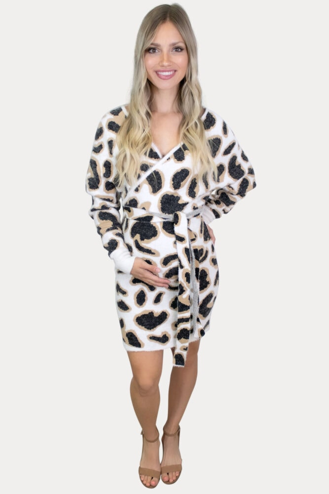 leopard sweater maternity dress
