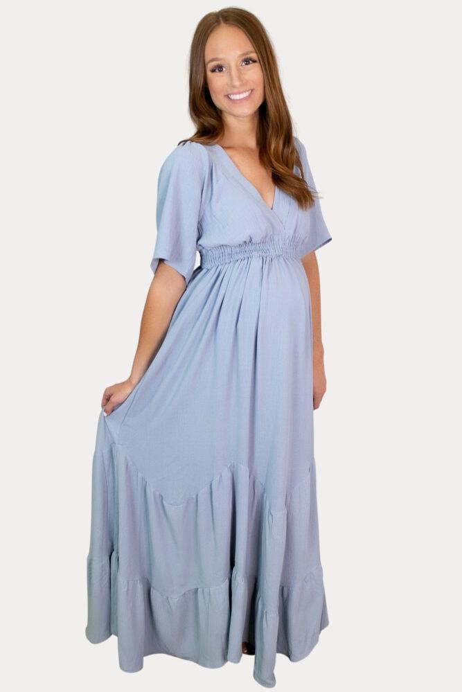 elegant v-neck pregnancy maxi