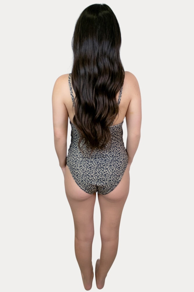 Our leopard pregnancy swimsuit in tan is sure to please!