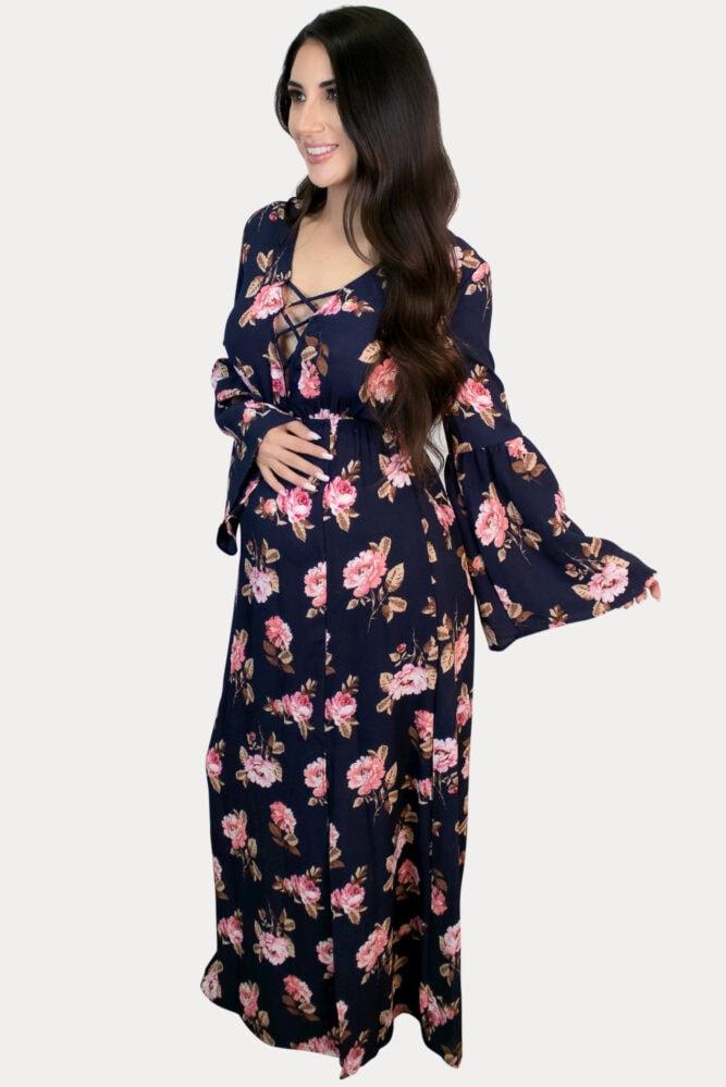 criss-cross floral maternity maxi