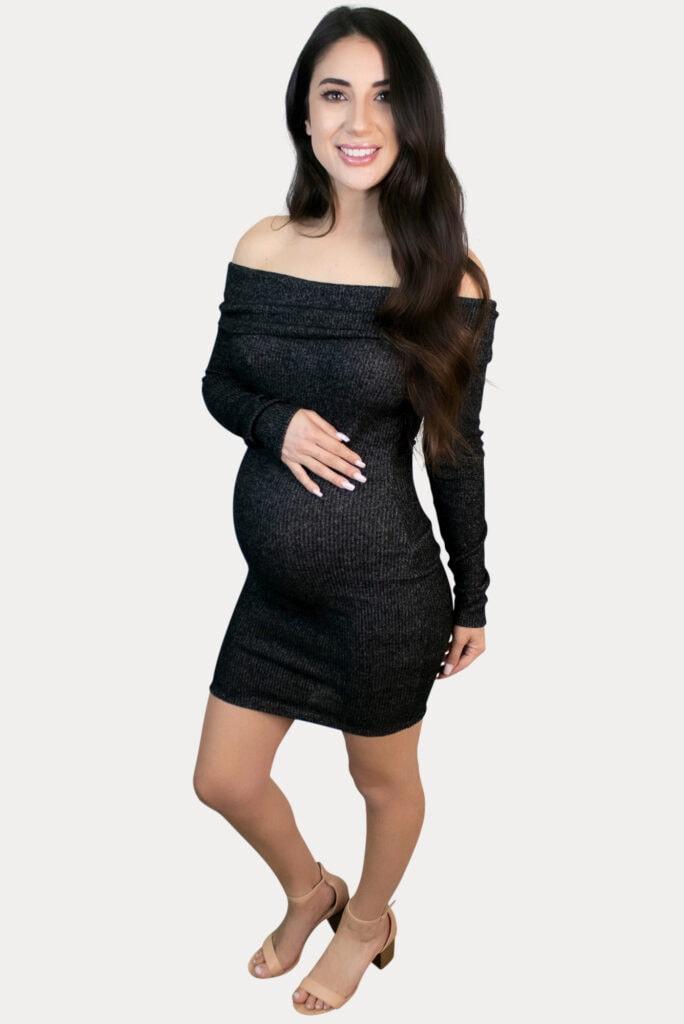 long sleeve ribbed maternity dress