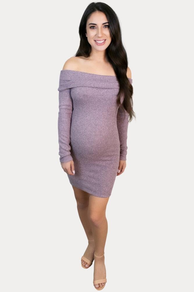 long sleeve ribbed pregnancy dress