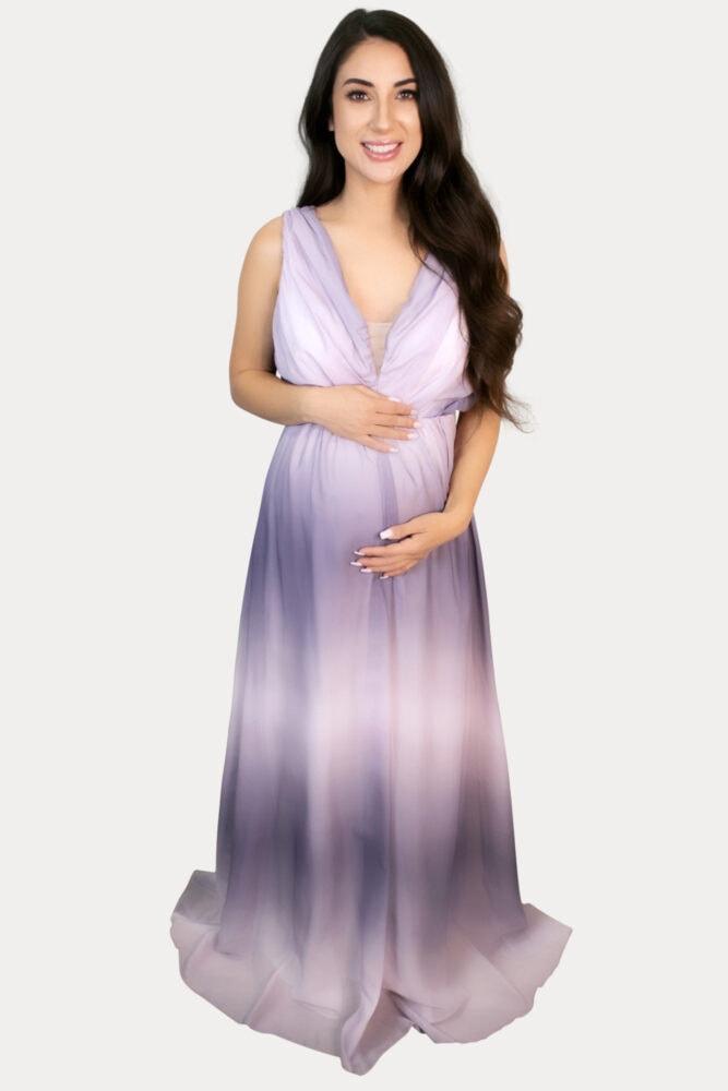blue ombre maternity maxi
