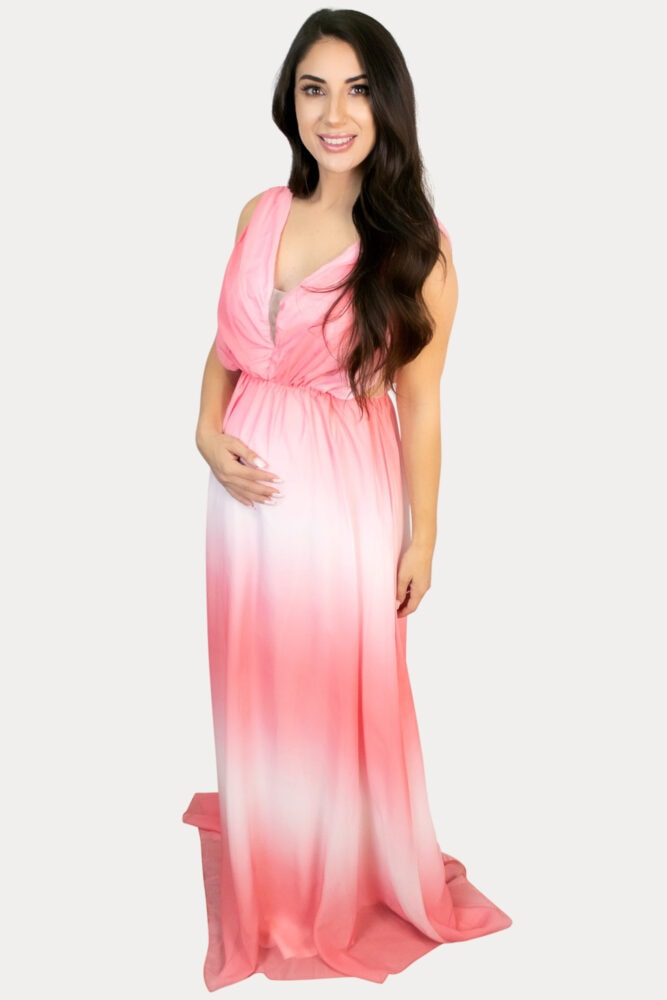 pink ombre maternity maxi
