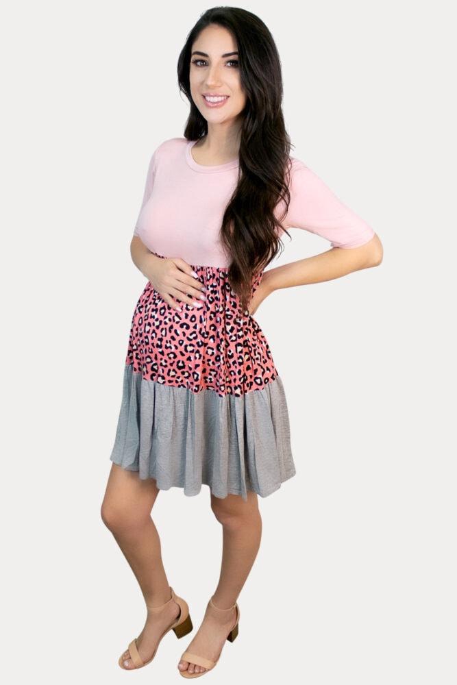 flowy leopard pregnancy dress