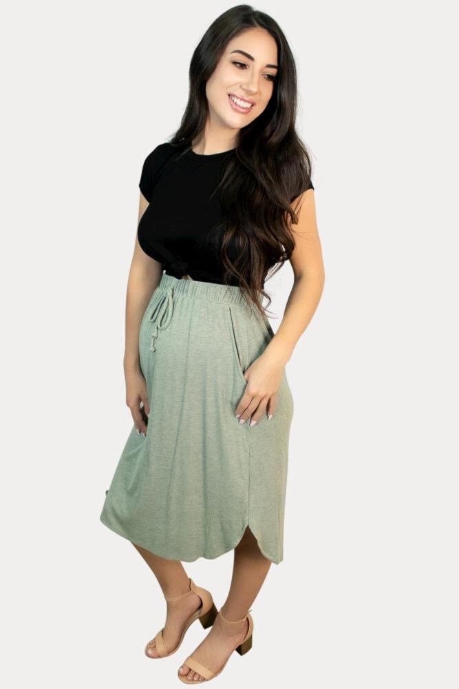 drawstring maternity skirt