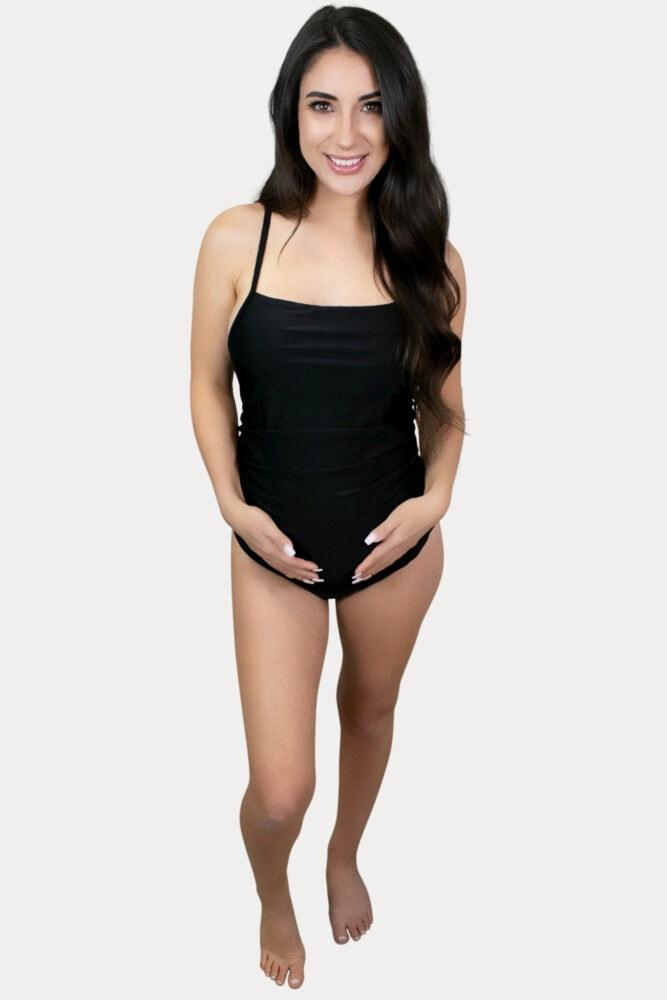thin strap maternity swimsuit